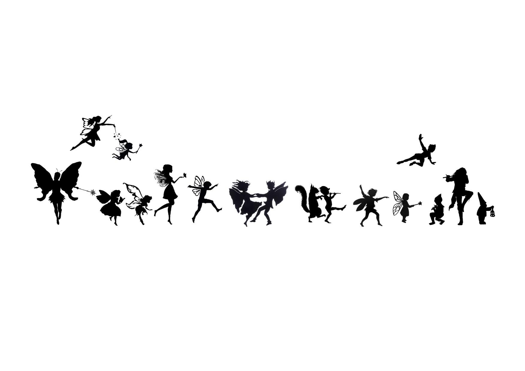 joyful line of Faerie Folk in silhouette